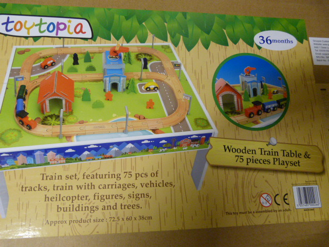 Lot 236 - *Wooden Train Table and 75 Piece Playset