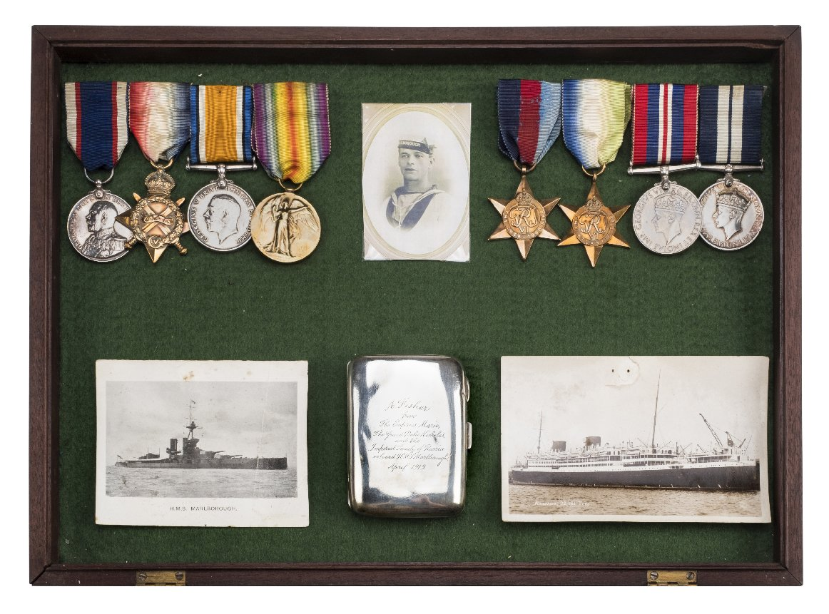 Lot 992 - *Medals. A historically important DSM group to Able Seaman Arthur Frederick Fisher, Royal Navy who