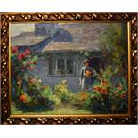 A Dixon (20th Century), Lady before a Cottage, oil on board, signed lower right, 22 x 29cm