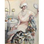 In the Manner of Lili Elbe, Art Deco Lady seated in a Bedroom, watercolour, 43 x 33cm