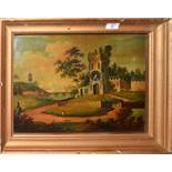 English School (19th Century), Landscape with Church, oil on tin picture clock, 29 x 41cm