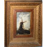 Continental School (19th Century), Landscape with Figure and Windmill, oil on panel, bearing
