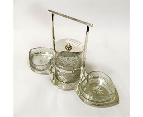 SILVER PLATE & GLASS HEART JAM DISH SET