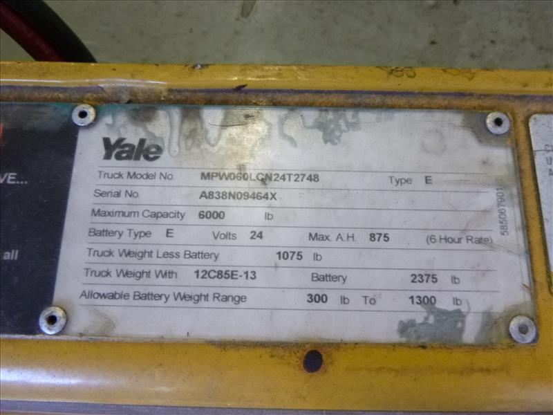 Yale walk-behind pallet truck, mod. MPW060LNC24T2748, ser. no. A838N09464X, 24V electric, 6000 lbs - Image 3 of 4