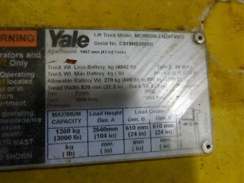 Yale walk-behind fork lift truck, mod. MCW030LEN24TV072, ser. no. C819N02805N, 24V electric, 3000 - Image 3 of 3