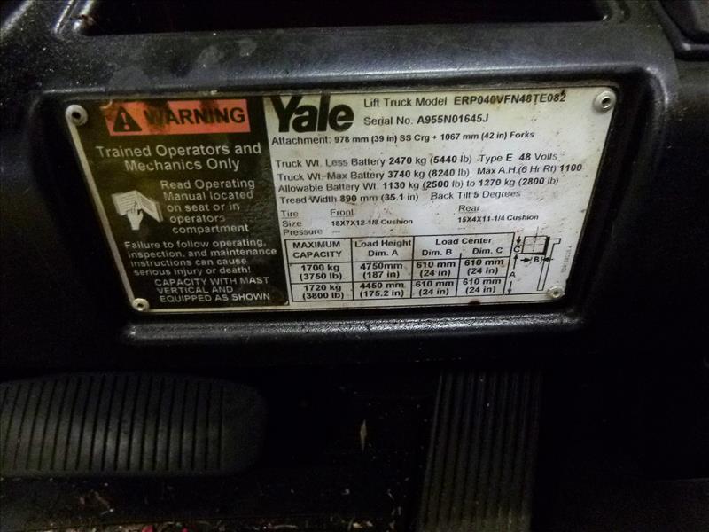 Yale fork lift truck, mod. ERP040VFN48TE082, ser. no. A955N01645J, 48V electric, 3700 lbs cap., - Image 4 of 4