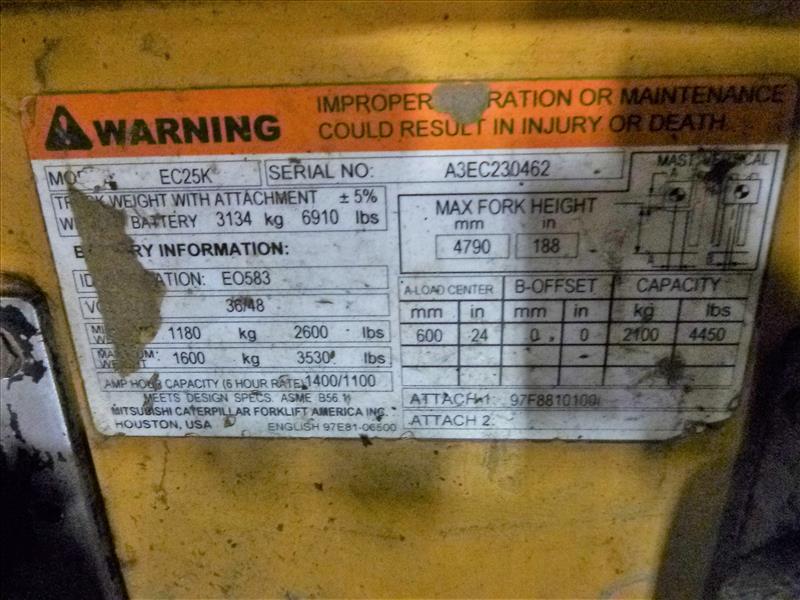 Caterpillar fork lift truck, mod. EC25K, ser. no. A3EC230462, 48V electric, 4450 lbs cap., 188 in. - Image 4 of 4