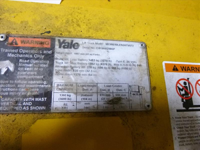 Yale walk-behind fork lift truck, mod. MCW030LEN24TV072, ser. no. C819N02986P, 24V electric, 3000 - Image 3 of 3