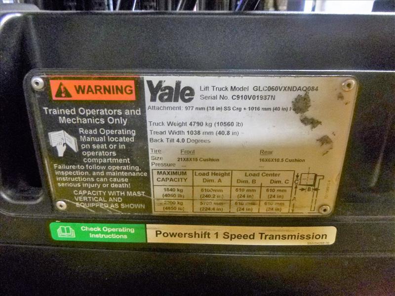 Yale fork lift truck, mod. GLC060VXNDAQ084, ser. no. C910V01937N, LPG, 4000 lbs cap., 240 in. lift - Image 4 of 4
