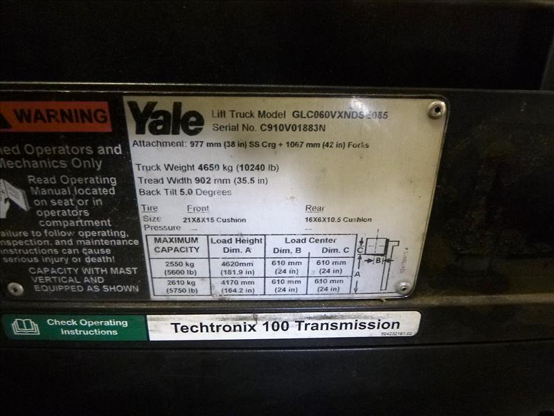 Yale fork lift truck, mod. GLC060VXNDSE085, ser. no. C910V01883N, LPG, 5500 lbs cap., 181 in. lift - Image 4 of 4