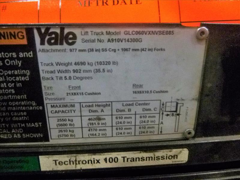 Yale fork lift truck, mod. GLC060VXNSEE085, ser. no. A910V14300G, LPG, 5500 lbs cap., 181 in. lift - Image 4 of 4