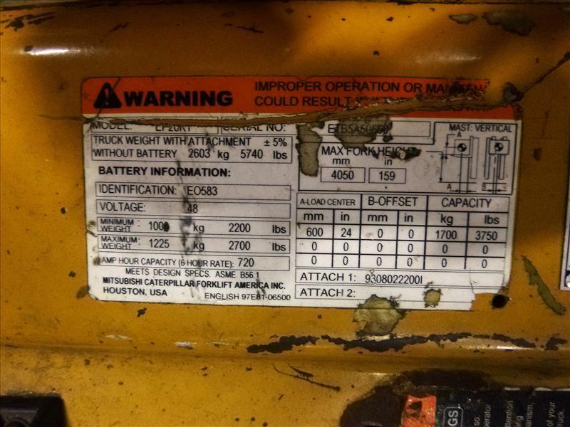 Caterpillar fork lift truck, mod. EC20KT, ser. no. ETB5A50660, 48V electric, 3750 lbs cap., 159 - Image 4 of 4