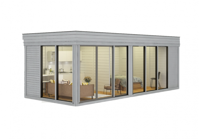 Lot 18007 - V Brand New Huge Luxury 3m x 7m Glamping Cube With Sliding Glass Doors - Kitchen Area - Bedroom -