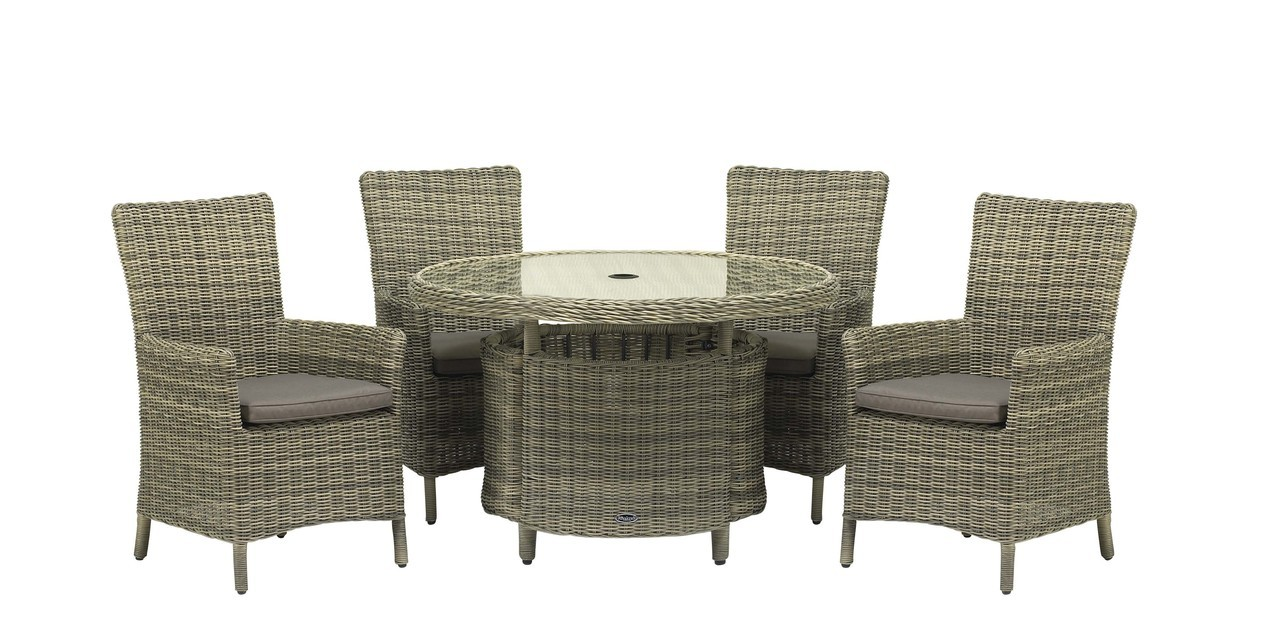 Lot 18257 - V Brand New Modena 110 Table With Four Carver Chairs - 5mm Full Round Weave (Stock Usually Available