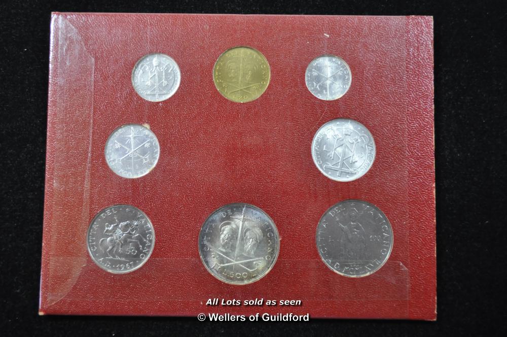 Lot 7061 - Vatican commemorative coins sets (3), 1966, 1966, 1967; Sede Vacante 500 lire, 1963, mint state.