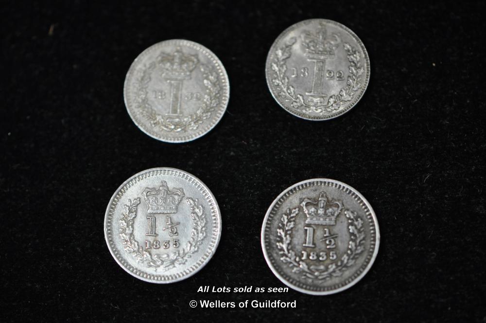Lot 7079 - George IV Maundy Penny, 1822; William IV three-halfpence (2), 1835; Maundy Penny 1832, good very