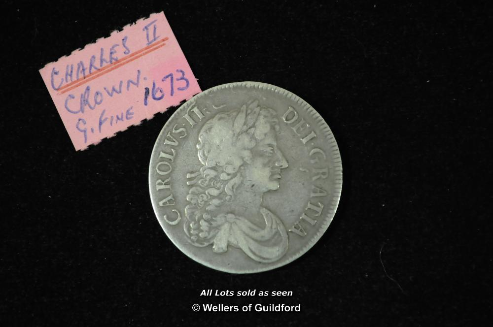 Lot 7074 - Charles II silver crown, 1673, third bust right, edge QVINTO, rev, cross of shields (S.3358), good