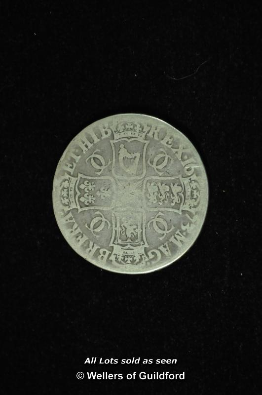 Lot 7075 - Charles II silver crown, 1673, third bust right, edge QVINTO, rev. cross of shields (S.3358), fair
