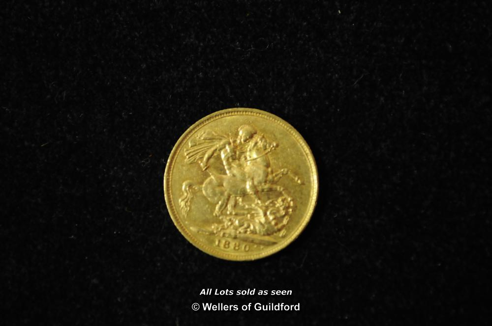 Lot 7066 - Victoria, gold sovereign, 1880 M Melbourne Mint, young head left, rev. St. George (S.3857), very