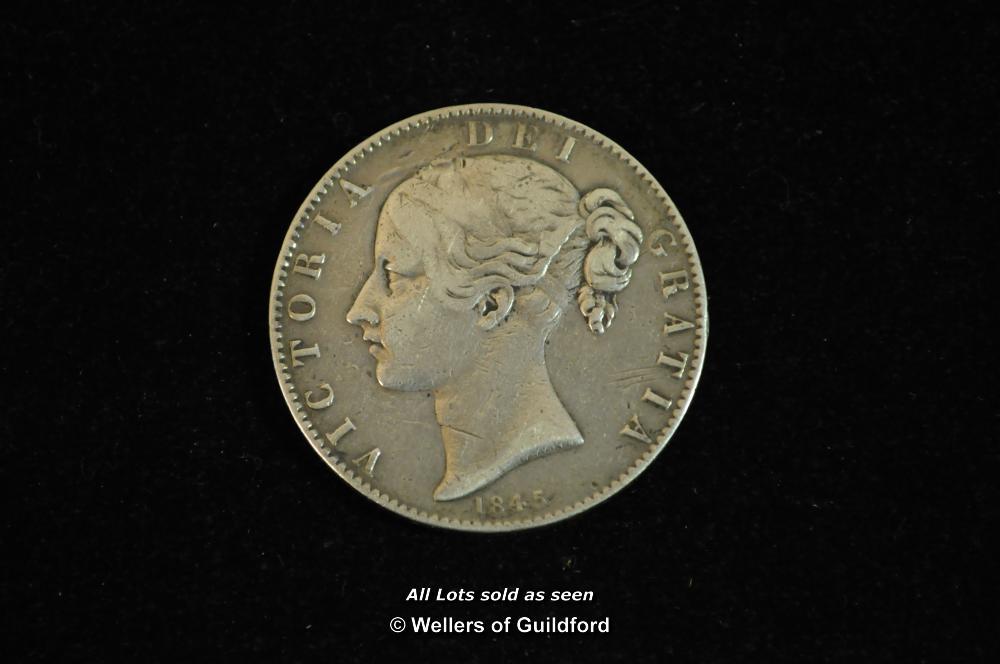 Lot 7081 - Victoria, silver crown, 1845, VIII, cinquefoil stops, young head left, rev. crowned shield (S.3882),