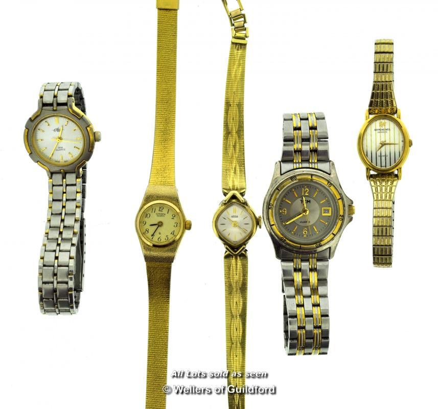 Lot 7013 - Five ladies' wristwatches, including a Raymond Weil gold plated watch on an expandable bracelet, and