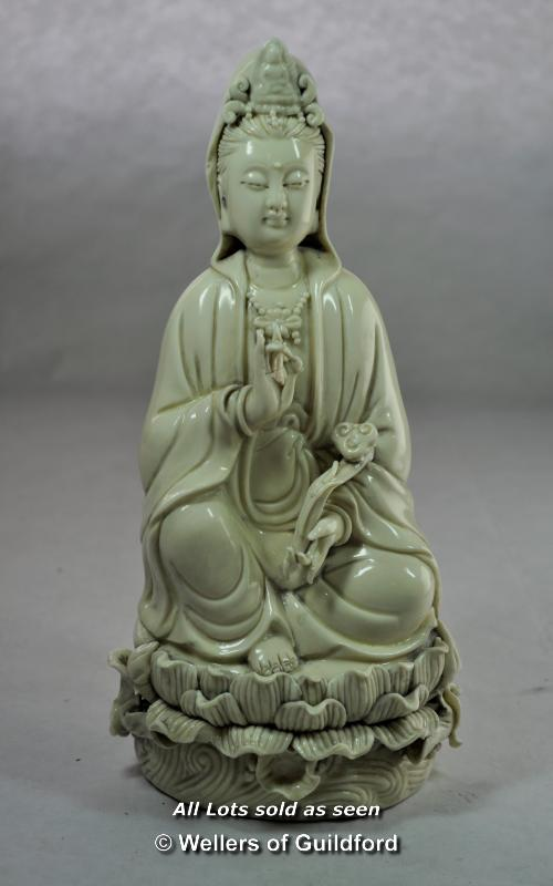 Lot 7227 - Chinese blanc de chine figure of a goddess seated on a lotus flower, impressed mark on back, 27cm.