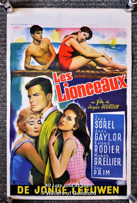 "Lot 7199 - Movie poster - ""Les Lionceaux"" (Lion Cubs) 1960, Belgian poster, 14 x 22 Inches, rolled"