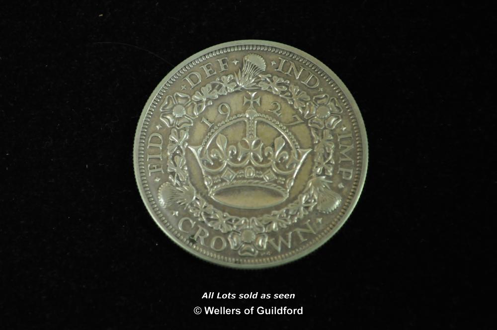 "Lot 7084 - George V ""wreath"" silver crown, 1927, head left, rev.date above crown (S.4036), obverse fine,"