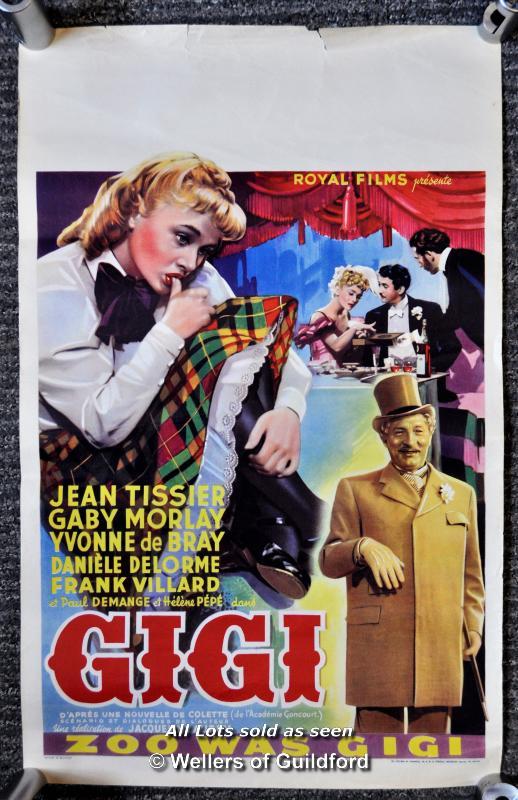 "Lot 7194 - Movie poster - ""Gigi"" starrring Jean Tissier, 1949, Belgian Poster, 14 x 22 inches, rolled"