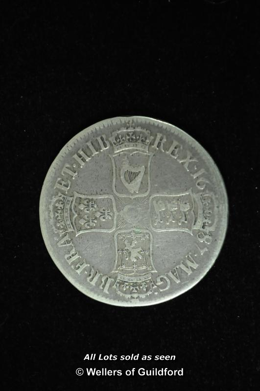 Lot 7076 - James II silver crown, 1687, second bust left, edge TERTIO, rev. cross of shields (S.3407), good