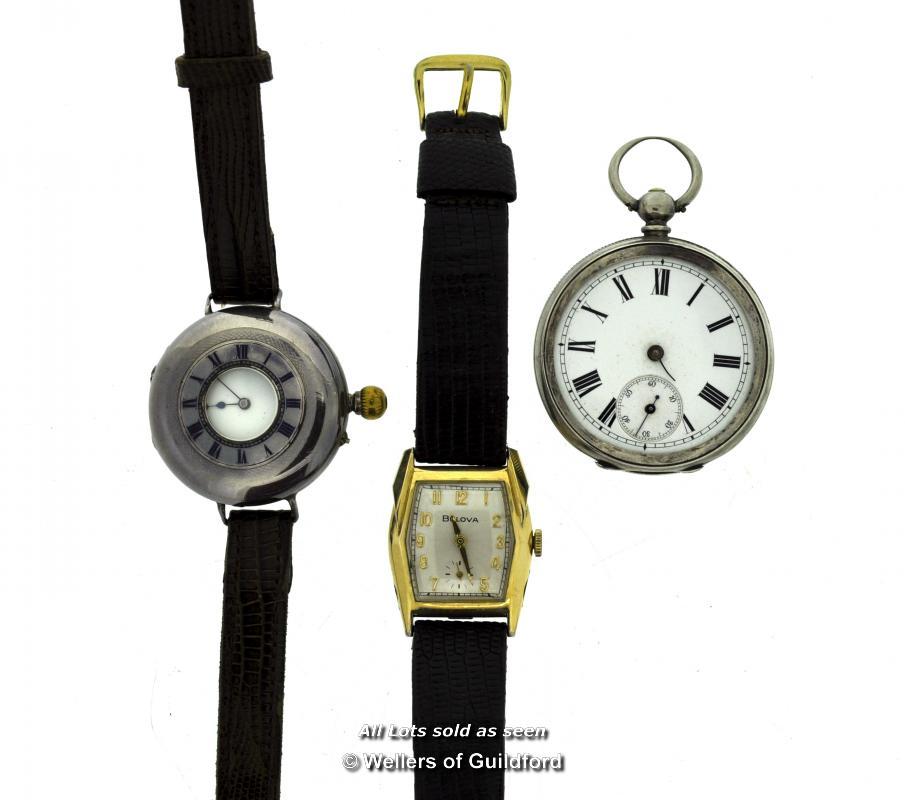 Lot 7018 - *Gentlemen's silver half hunter wristwatch, a Bulova wristwatch, and a silver pocket watch, a/f (Lot