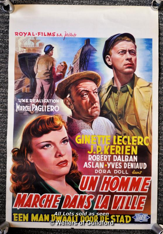 "Lot 7197 - Movie poster - ""Un Homme Marche Dans La Ville"" (A Man Walks in the City) 1950, Belgian poster, 14"