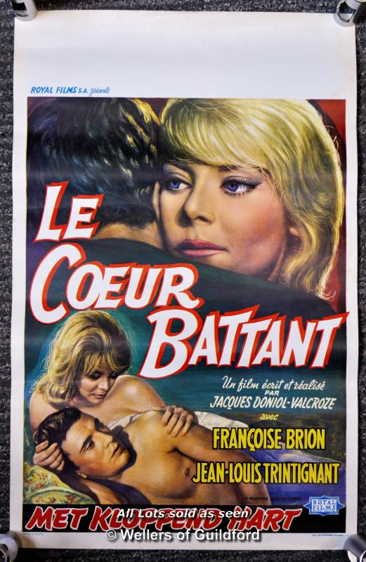 "Lot 7198 - Movie poster - ""Le Coeur Battant"" (The Beating Heart) 1960, Belgian poster, 14 x 22 inches, rolled"