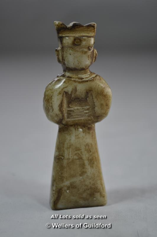 Lot 7298 - A Chinese hardstone figure of a standing gentleman, 8cm.