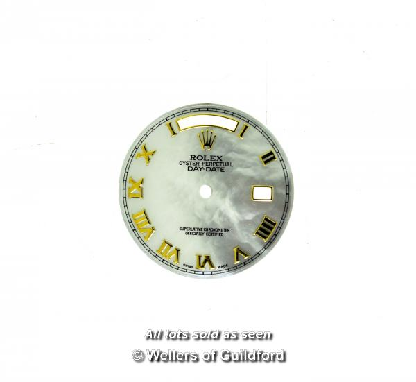 Lot 7047 - *Rolex dial, Oyster Perpetual Day-Date mother of pearl watch dial, with Roman numerals, 29mm (Lot