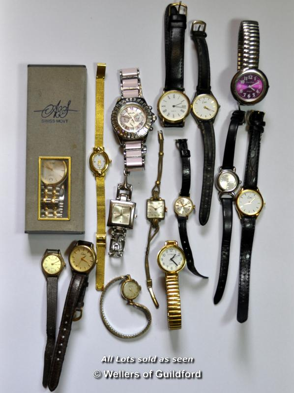 Lot 7025 - Selection of fifteen mixed wristwatches
