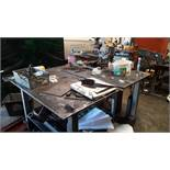 Steel Fabricated Work Table and Contents including Jei Mini Beast Mag Drill Serial Number 15 A2905