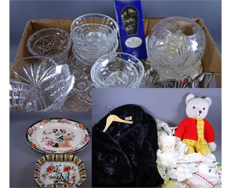 CUT & OTHER GLASS VASES, Victorian cake stand and a quantity of sundae dishes, Ashworth meat platter and Losol ware Shang