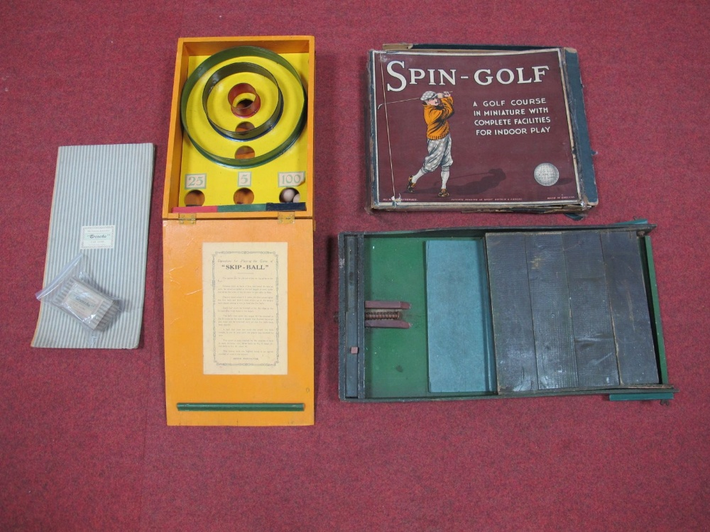 Lot 34 - Four Early Mid XX Century Games, including 'Trencho' with board, Spin Golf, boxed, 'Skee-Ball' by