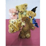Five Modern Merrythought Teddy Bears, including Cheeky Hocus Pocus, No. 264 of 500.