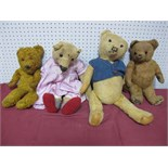 Four Mid XX Century and Later Teddy Bears, 41-51cm, well loved.