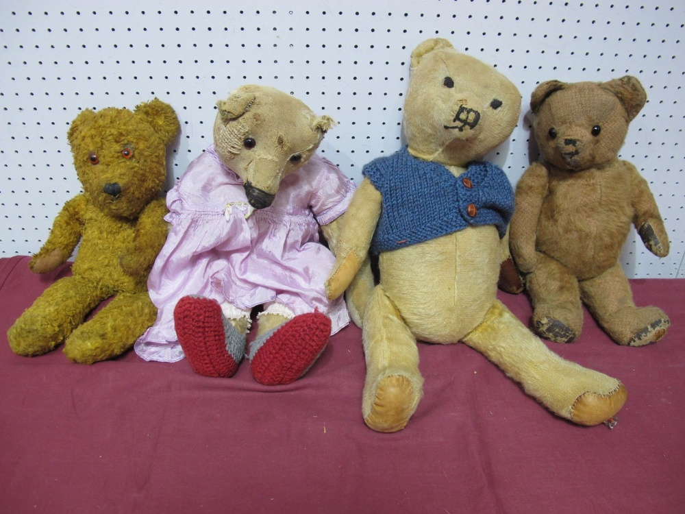 Lot 46 - Four Mid XX Century and Later Teddy Bears, 41-51cm, well loved.