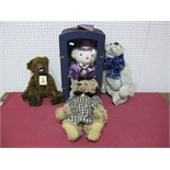 Four Modern Teddy Bears, by K. M. Bears, C and M's Bear Hugs and other including Bear Hugs Silver