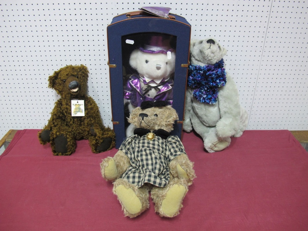 Lot 33 - Four Modern Teddy Bears, by K. M. Bears, C and M's Bear Hugs and other including Bear Hugs Silver