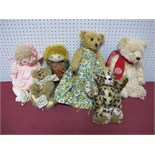 Six Modern Teddy Bear and Rag Dolls, by Huggy Bears, Kim Bearly's, Robin Rive, Keel Toys including