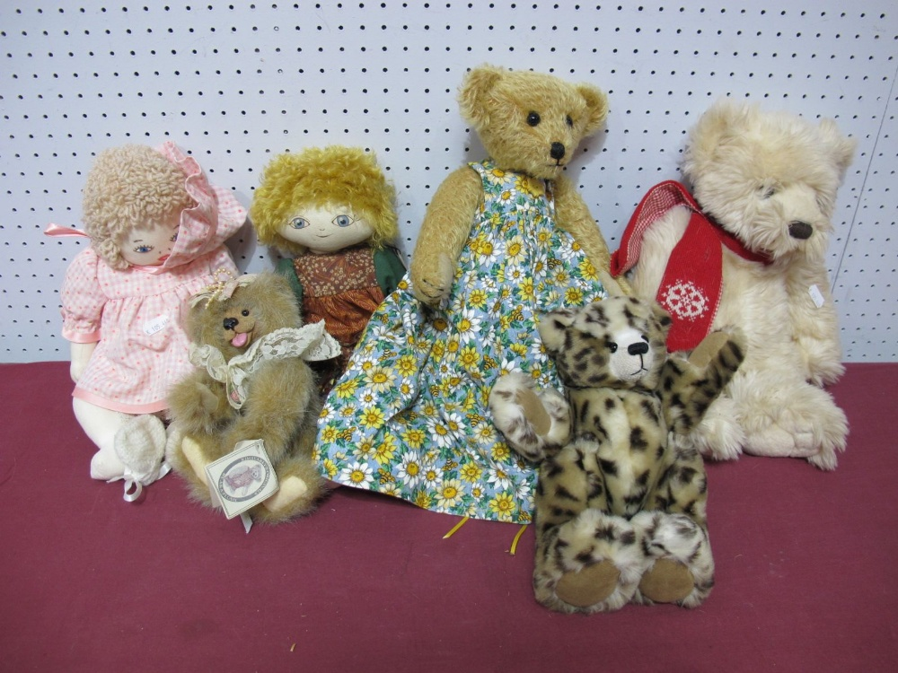 Lot 37 - Six Modern Teddy Bear and Rag Dolls, by Huggy Bears, Kim Bearly's, Robin Rive, Keel Toys including