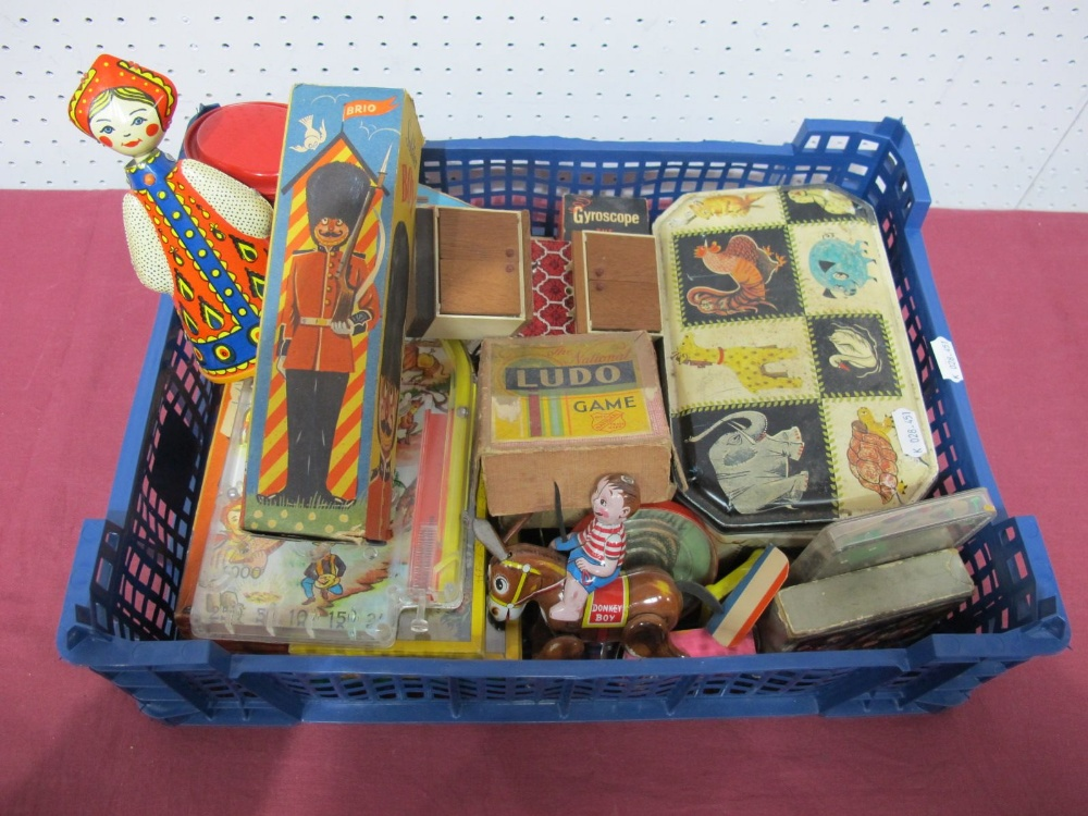 Lot 4 - A Quantity of Mid XX Century Tin Plate and Nursery Toys, including Brio (Sweden) wooden soldier