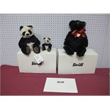 Two Boxed Modern Steiff (Danbury Mint) Bears, Panda Bear (mother and cub), Joshua Teddy Bear,