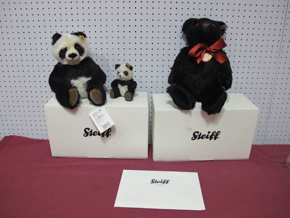 Lot 56 - Two Boxed Modern Steiff (Danbury Mint) Bears, Panda Bear (mother and cub), Joshua Teddy Bear,