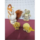 Four Steiff Soft Toy Animals, 1960's and later, including growler bear, retriever puppy, baby